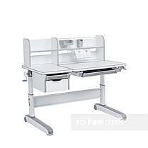 Дитячий комплект стіл-трансформер FunDesk Libro Grey + крісло Fundesk Mente Dark Green з підлокітниками, фото 3