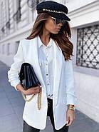 Легкий и модный женский пиджак с карманами, 00900 (Белый), Размер 46 (L), фото 3