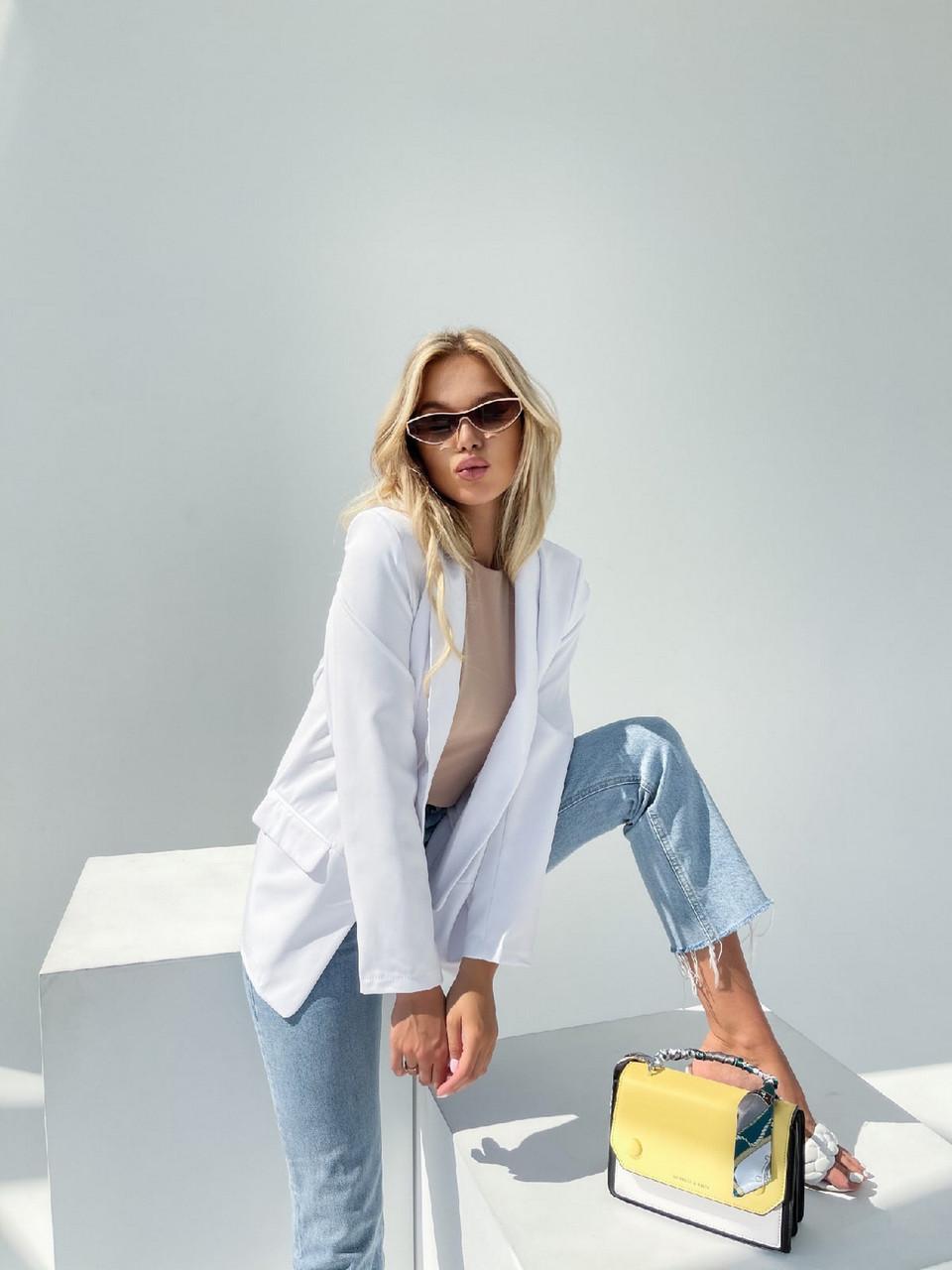 Легкий и модный женский пиджак с карманами, 00900 (Белый), Размер 42 (S)