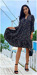 Платье летнее NOBILITAS 42 - 52 синее софт (арт. 21005)