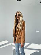 Піджак жіночий на літо без підкладали, 00903 (Коричневий), Розмір 46 (L), фото 2