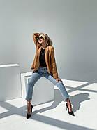 Піджак жіночий на літо без підкладали, 00903 (Коричневий), Розмір 46 (L), фото 3