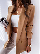 Піджак жіночий на літо без підкладали, 00903 (Коричневий), Розмір 46 (L), фото 4