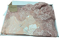 """Кружевное постельное от """"Blumarine"""" цвета пыльной розы с серебряным напылением"""