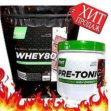 Pre-Tonic Комплект протеин для набора мышечной массы Шоколад Польша 2 кг и Предтренировочный комплекс