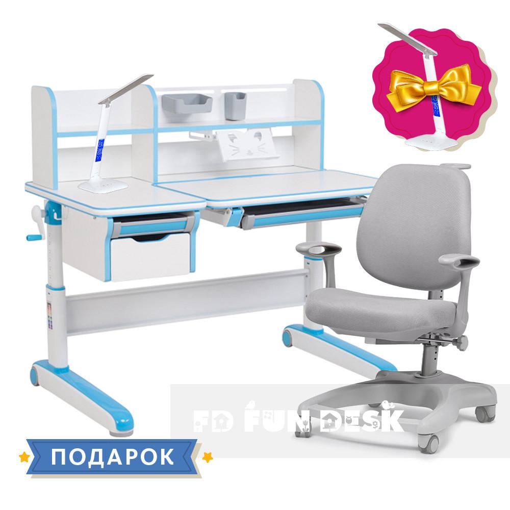 Комплект для хлопчика стіл-трансформер FunDesk Libro Blue + ортопедичне крісло FunDesk Delizia Grey