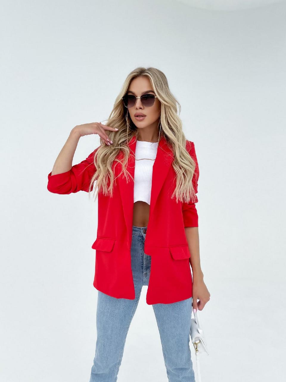 Модний жіночий піджак з підплечниками з двома кишенями, 00906 (Червоний), Розмір 42 (S)