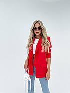 Модний жіночий піджак з підплечниками з двома кишенями, 00906 (Червоний), Розмір 42 (S), фото 2