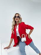 Модний жіночий піджак з підплечниками з двома кишенями, 00906 (Червоний), Розмір 42 (S), фото 3