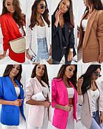 Модный женский пиджак на подплечниках с двумя карманами, 00906 (Красный), Размер 42 (S), фото 5