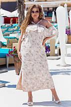 """Літнє плаття-сарафан в квіточку """"Зоряна"""" на бретельках (великі розміри), фото 3"""