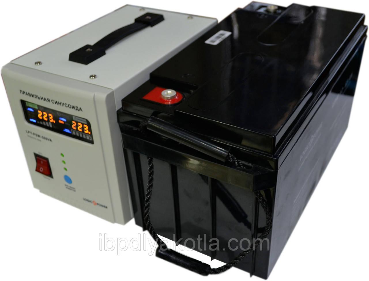 Комплект резервного питания ИБП Logicpower LPY-PSW-500 + АКБ LPM12-100 для 7-12ч работы газового котла
