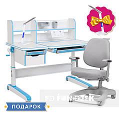Комплект для мальчика стол-трансформер FunDesk Libro Blue + oртопедическое кресло FunDesk Delizia Grey