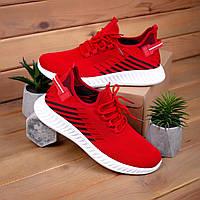 Чоловічі текстильні кросівки червоного кольору в наявності. Розміри 36-40, фото 1