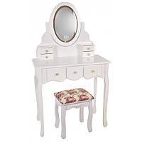 Туалетный Столик косметический с зеркалом трюмо с подсветкой и табуретом женский столик для макияжа белый