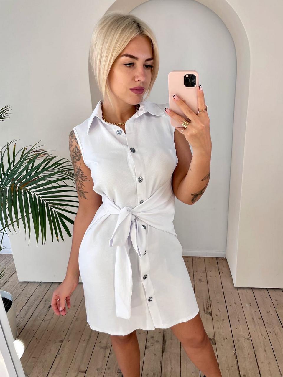 Женское льняное платье на пуговицах с поясом без рукавов, 00912 (Белый), Размер 42 (S)