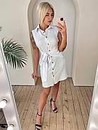 Женское льняное платье на пуговицах с поясом без рукавов, 00912 (Белый), Размер 42 (S), фото 2