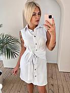 Женское льняное платье на пуговицах с поясом без рукавов, 00912 (Белый), Размер 42 (S), фото 3