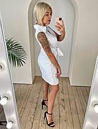 Женское льняное платье на пуговицах с поясом без рукавов, 00912 (Белый), Размер 42 (S), фото 4
