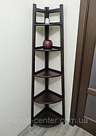 """Угловая напольная этажерка стеллаж """"Робин - 2"""" на 5 полок из дерева от производителя для дома (цвет на выбор)"""