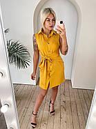 Лляна жіноча сукня на ґудзиках з широким поясом, 00913 (Гірчичний), Розмір 46 (L), фото 2
