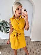 Лляна жіноча сукня на ґудзиках з широким поясом, 00913 (Гірчичний), Розмір 46 (L), фото 3