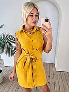 Лляна жіноча сукня на ґудзиках з широким поясом, 00913 (Гірчичний), Розмір 46 (L), фото 4