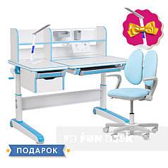 Комплект для мальчика стол-трансформер FunDesk Libro Blue + кресло Fundesk Mente Blue с подлокотниками