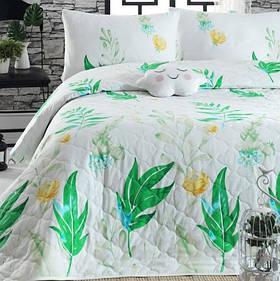 Покривало стьобане з наволочкою Enlora Home - Arta yesil зелений 180*225
