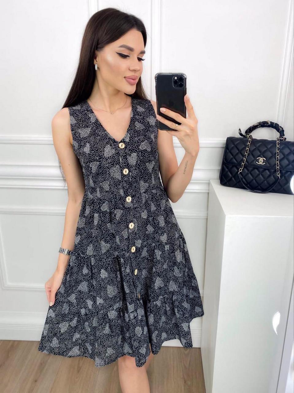 Женское котоновое платье без рукавов на пуговицах, 00914 (Черный), Размер 42 (S)