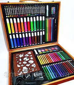 Набор для юного художника 158 предметов в деревянном чемодане