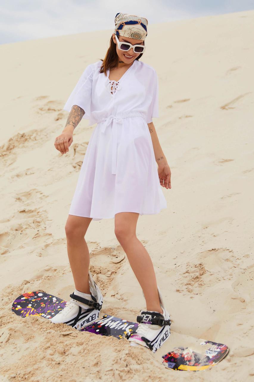 Туника пляжная белая шифоновая короткая