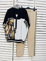 Блузка черно-белая с абстрактным принтом Say 21-1060