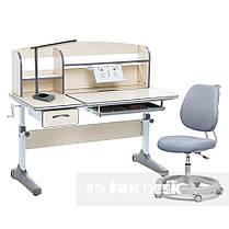 Комплект зростаюча парта для школярів Cubby Ammi Grey + ергономічне крісло FunDesk Pratico Grey, фото 2