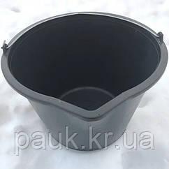 Строительное ведро 10 л. Пластмассовое ведро с носиком и мерной шкалой
