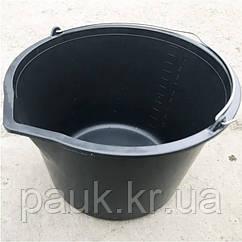Строительное ведро 12 л. Пластмассовое ведро с носиком и мерной шкалой
