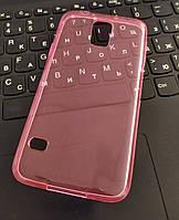 Чехол силиконовый прозрачный для Samsung S5, 0.5mm, Розовый