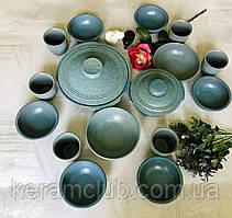 Набор посуды с гранитным покрытием Керамклуб на 6 персон голубого цвета