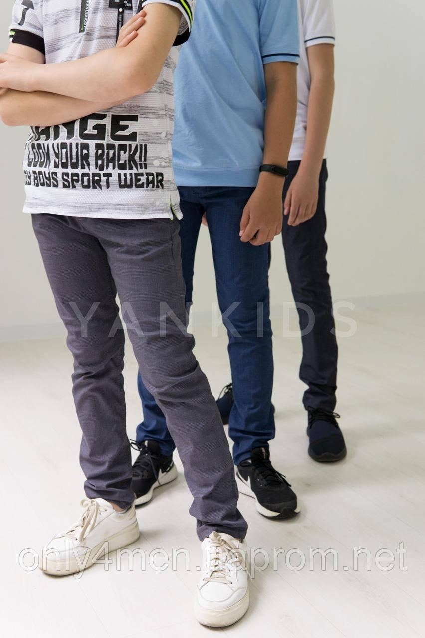 Котоновые штаны в клетку  для мальчиков   11-15 лет