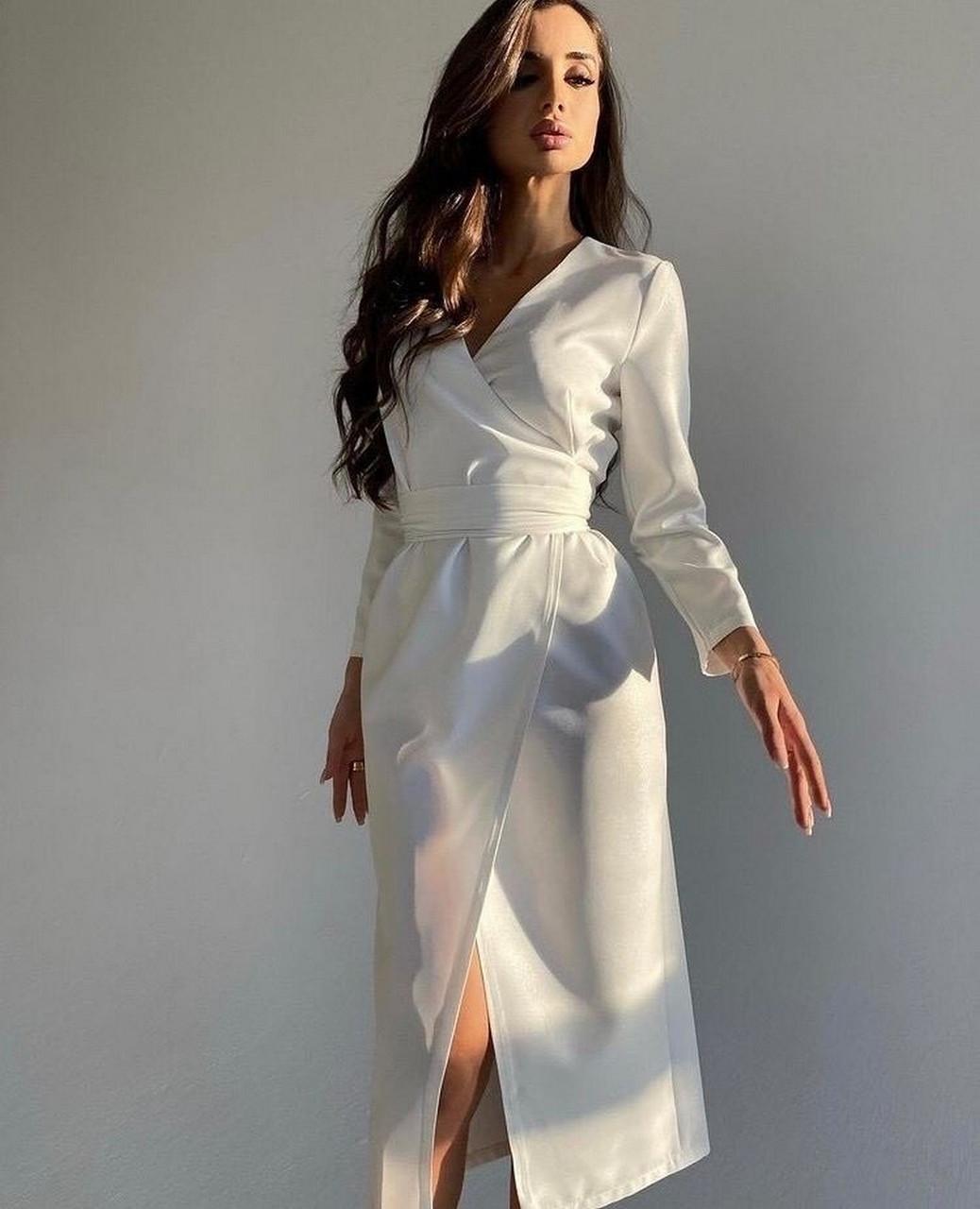 Стильное женское платье на запах с длинным рукавом, 00920 (Белый), Размер 42 (S)