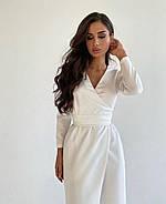 Стильное женское платье на запах с длинным рукавом, 00920 (Белый), Размер 42 (S), фото 3
