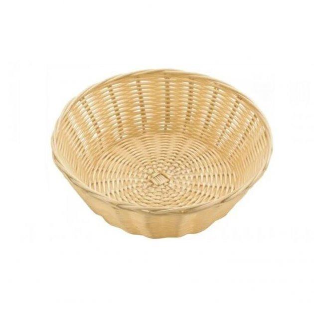 Корзина FoREST круглая светло-коричневая d23 см h7 см, Корзина для хранения хлеба. Хлебница коричневая круглая