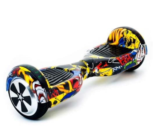 Гироборд Smart Balance 6,5 дюймов Граффити с желтым самобаланс | гироскутер детский Смарт Баланс 6,5 LED фары