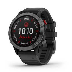 Мультиспортивные часы GARMIN Fenix 6 Pro Solar Gray with Black Band