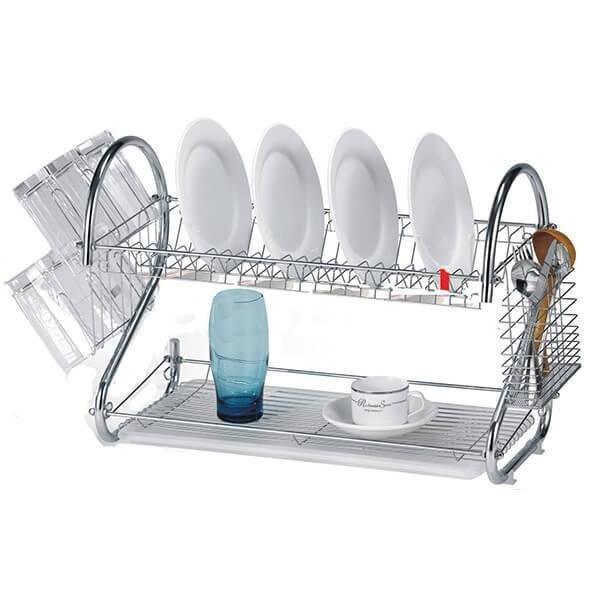 Сушка для посуду Benson BN-004 з нержавіючої сталі 2 рівня 39*39*25 см | кухонні сушарка для посуду Бенсон