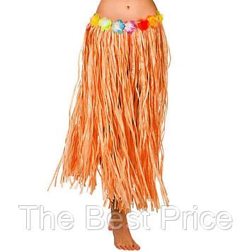 Гавайская юбка (75см) оранжевая