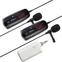 Комплект з 2-ма бездротовими петличными мікрофонами Savetek P8-UHF для телефона, смартфона, до 50 метрів