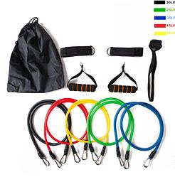 Набор эспандеров для фитнеса Power Resistance Bands JT-003 5 жгутов+4 держателя | эспандер для упражнений
