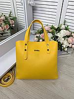 Женская сумка желтая на три отделения эко кожа