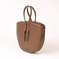 Овальная модная сумка! Женская коричневая сумочка K54-20/3 кросс боди с ручками, фото 1